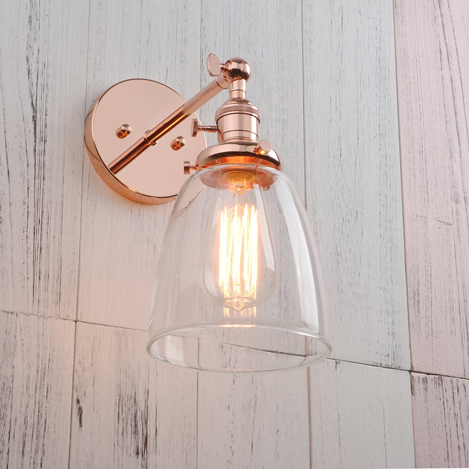 Antique Permo Industrial Vintage Single Sconce With Oval Cone Clear Glass Shade 1-light Wall Sconce Wall Lamp