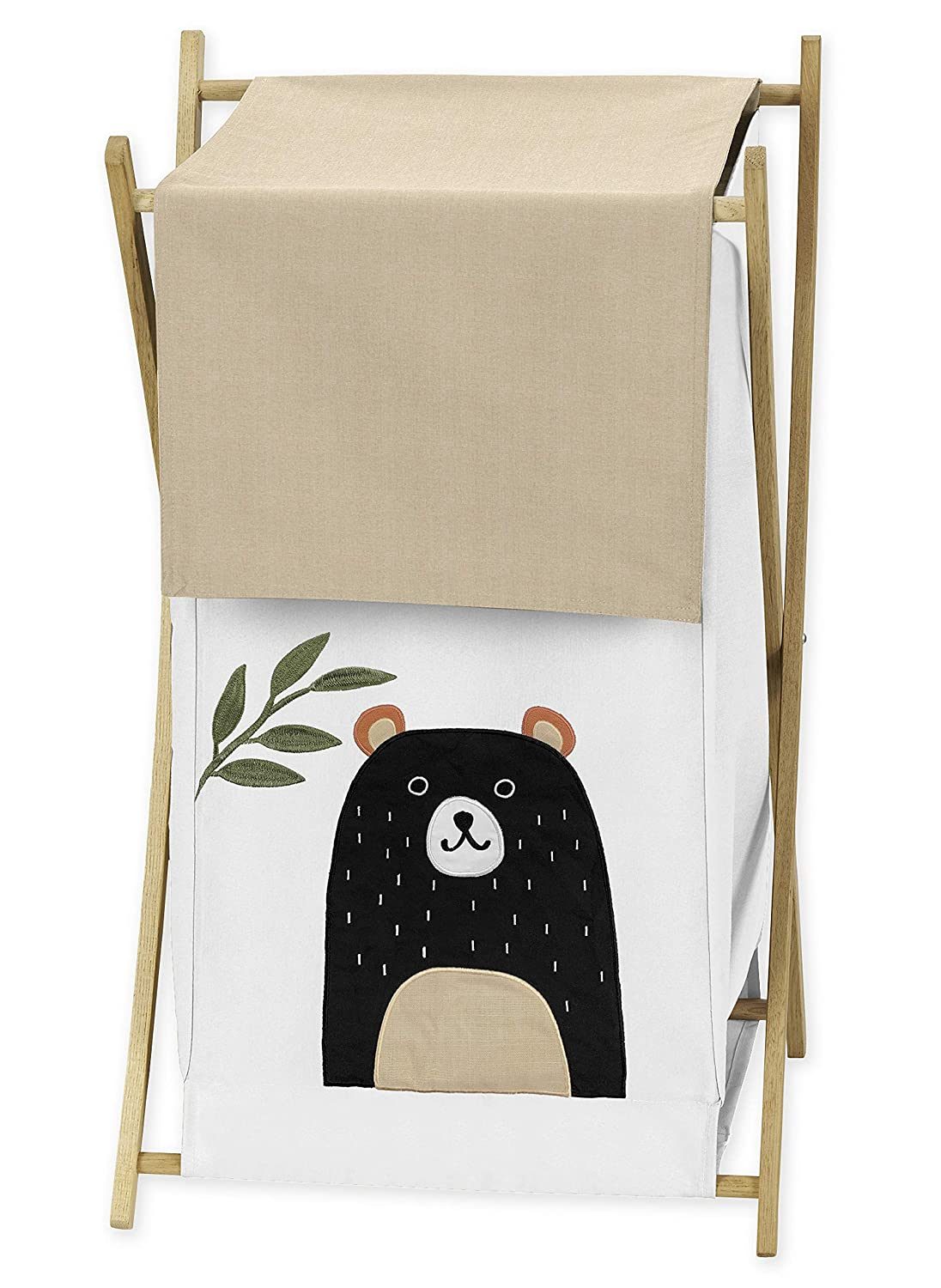 Sweet Jojo Designs Bear Forest Animal Baby Kid Clothes Laundry Hamper for Woodland Pals Collection - Neutral Beige, Green, Black and White