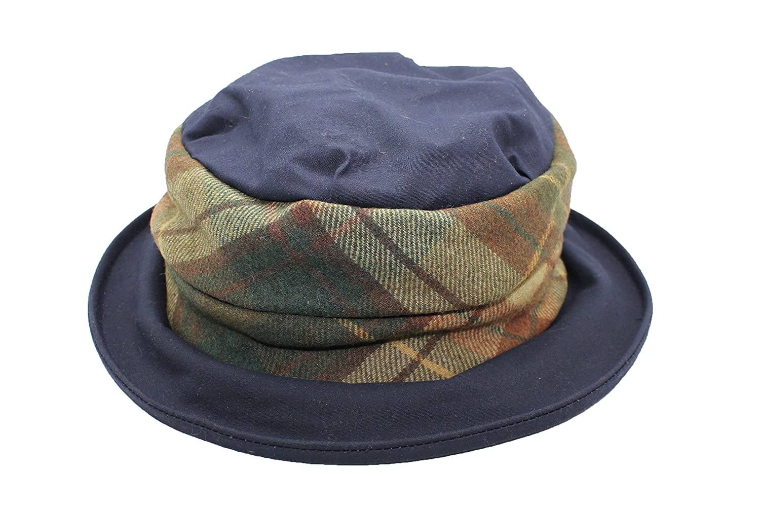 f2221563e1d Jane Anne Designs Ladies Maria Navy Blue Waxed Cotton Waterproof Winter Wax  Cloche Hat with Tweed Band  Amazon.co.uk  Clothing