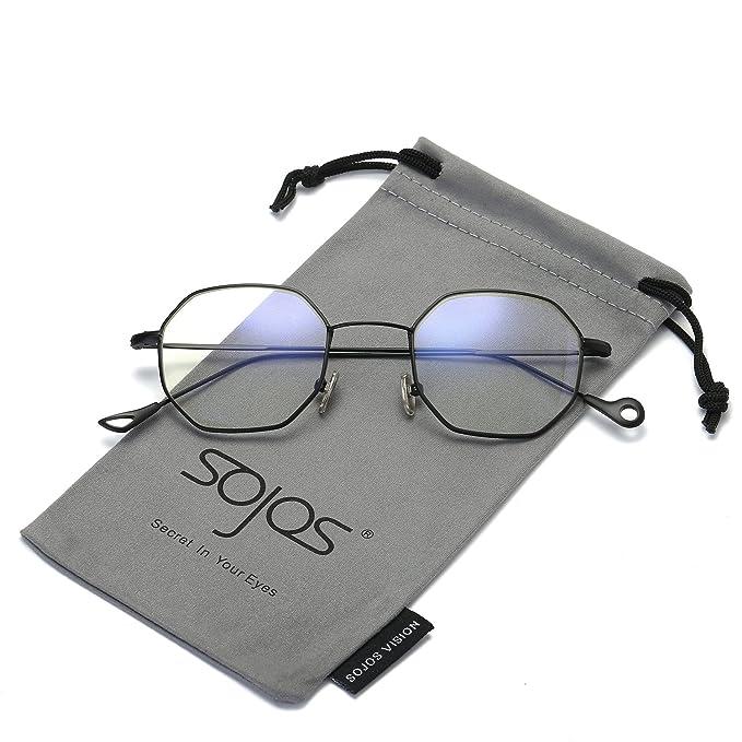 SOJOS Gafas Marco Poligonal Fácil lente transparente SJ5015 Marco Negro: Amazon.es: Ropa y accesorios