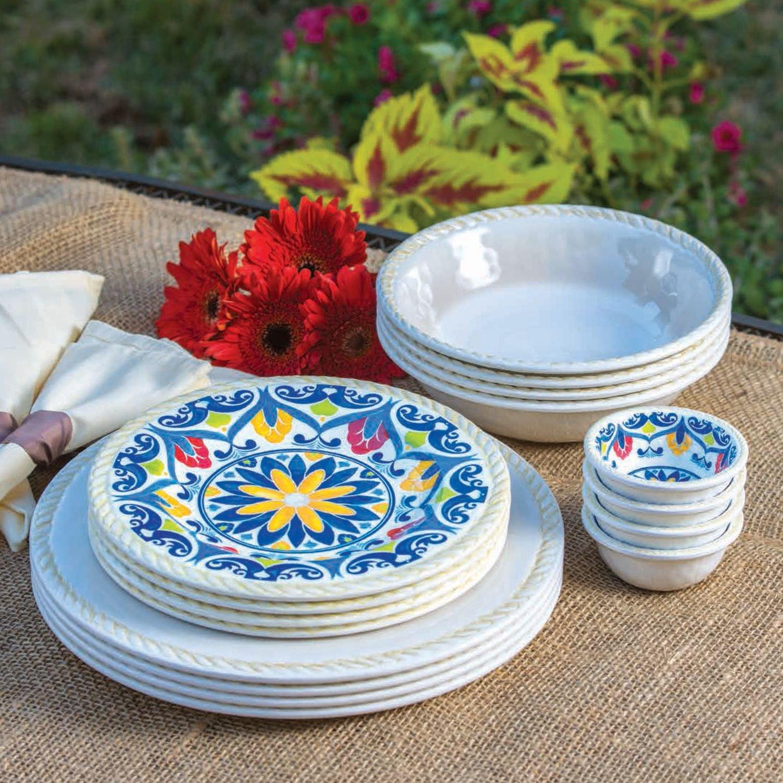 Amazon.com | 16 Piece Indoor/Outdoor Melamine Dinnerware Set IVORY Dinnerware Sets & Amazon.com | 16 Piece Indoor/Outdoor Melamine Dinnerware Set IVORY ...
