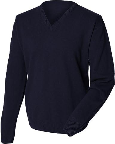 Henbury - Jersey/ Sweater cuello pico lana de cordero Modelo ...