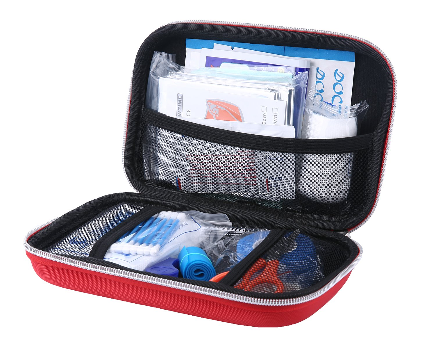 Complete First Aid Kit, Aolvo Professional Mini Survival Kit Emergency Medical Trauma Bag, Lightweight, Waterproof and Portable for Home Travel Outdoors Hiking Camping - 20 Piece with EVA Red Case