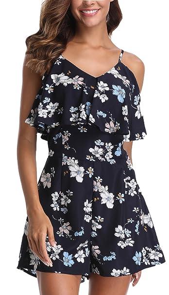 160d0c8c556 Miss Moly Jumpsuits Women Floral Print Cold Shoulder Playsuit Summer Romper  Suits Blue - XS