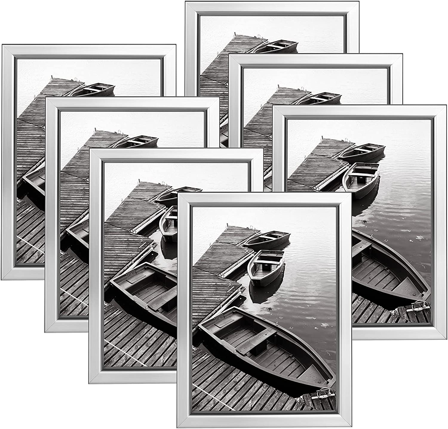 Giverny 5x7 Picture Frames Set of 7, Silver Photo Frames for Wall or Tabletop Display, Simple Design Glossy Finish Frame Perfect for Home Decoration, Office, Hotel and Various Ceremonies Praties