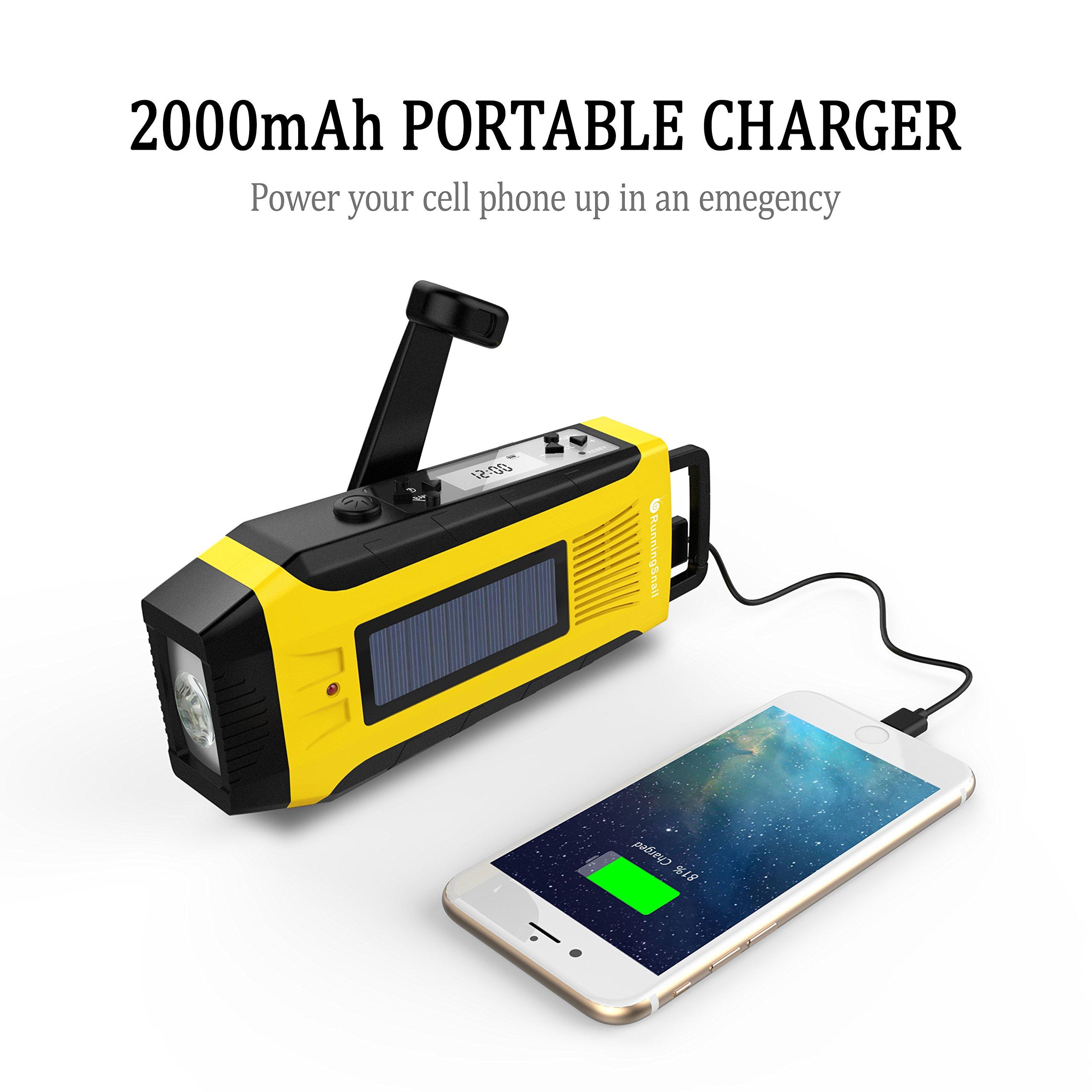 RunningSnail AM/FM NOAA Weather Emergency Solar Digital Crank Radio with 3W LED Flashlight, SOS Alarm & 2000MAh Power Bank(Yellow) … by RunningSnail (Image #6)