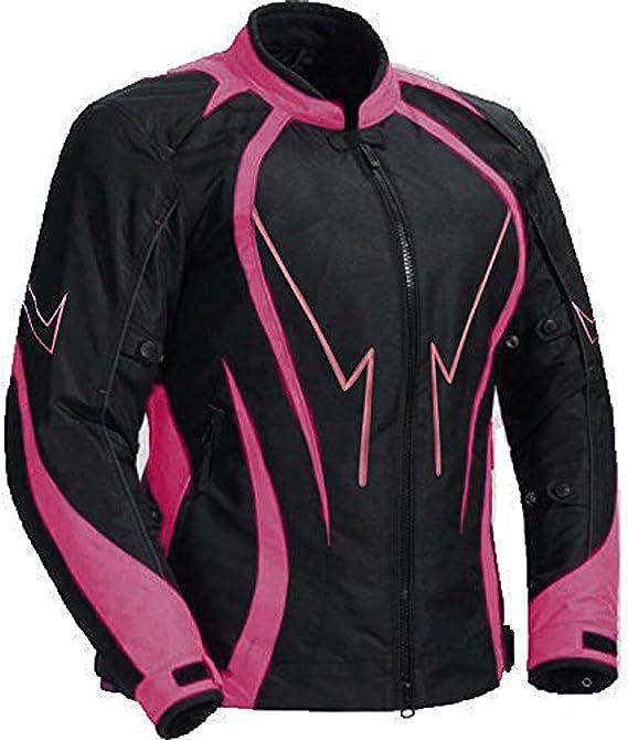 Juicy Trendz Motorradjacke Saftig Aus Leder Wasserdicht Für Damen Abgeschirmt Cordura Textiles Motorrad Rosa Xxl Bekleidung
