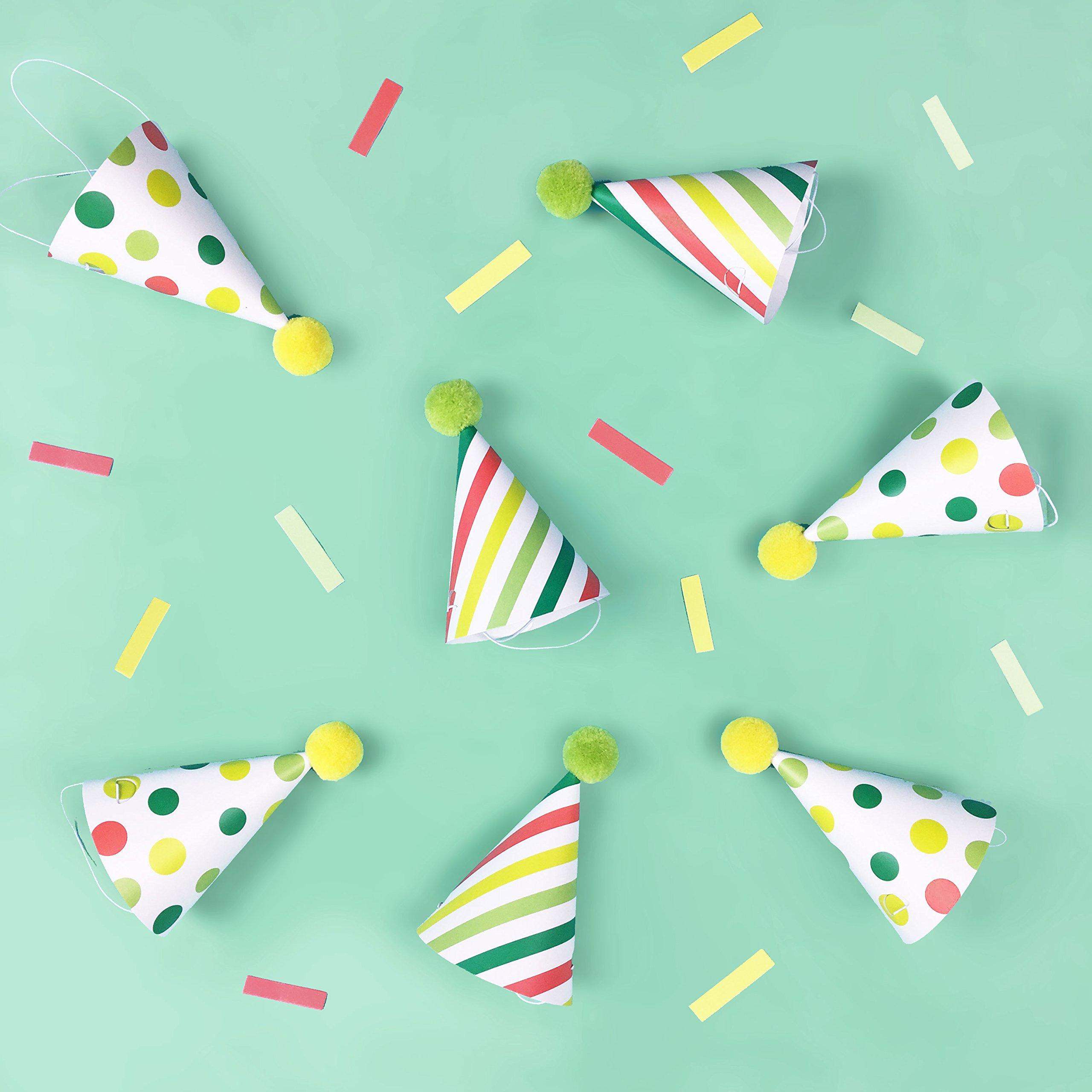 Llama Party - Mini Party Hats   12 Pack   Party Hats   Polka Dots, Stripes   Pom Pom Hat   Birthday Party