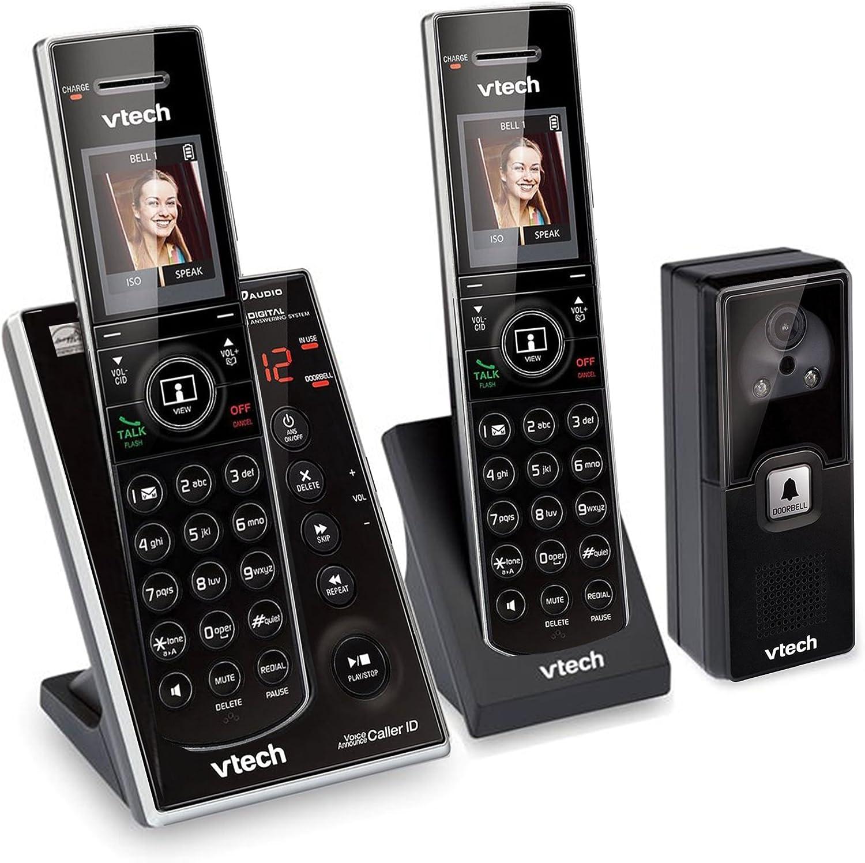 Black IS7121-2 Vtech DECT 6.0 Wireless Audio//Video Doorbell with 2 Cordless Phones Picture Memory and Handset Speakerphones Caller ID