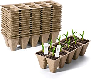 Delxo 15 Pack Peat Pots Seed Starter Trays Pods Seedling Plant Starter Tray (150 Cells) Organic Germination Seedling Trays Biodegradable, 20 Plastic Plant Labels Included