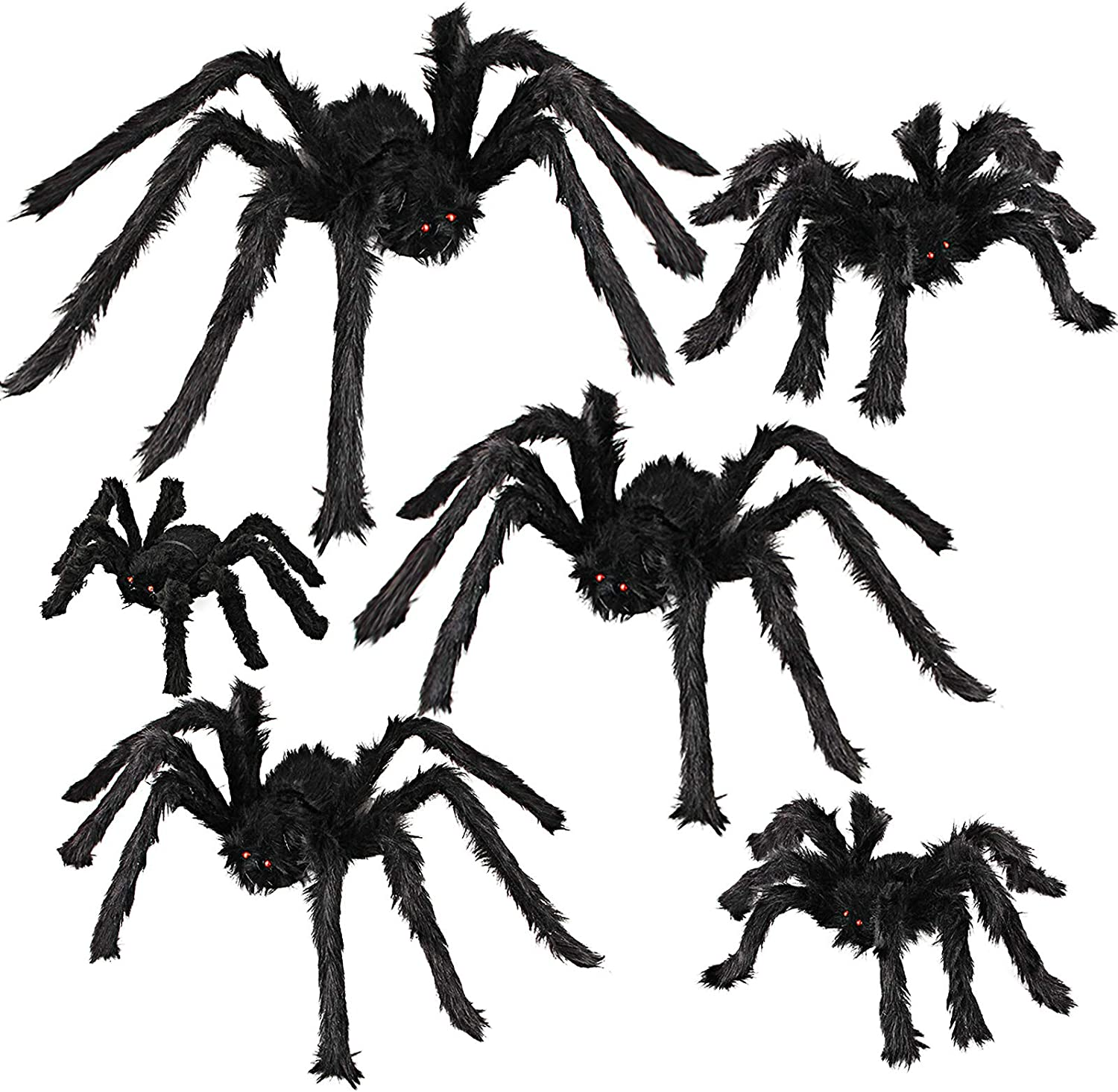 Dreampark Halloween Spider Decorations, 6 Pcs Realistic Hairy Spiders Set, Scary Spider Props for Indoor, Outdoor and Yard Creepy Decor (6 Different Sizes)