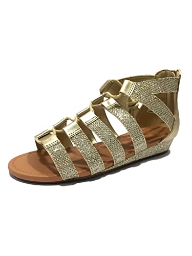 3bf609068cce78 Girls Kids Childrens Gold Strappy Faux Leather Summer Holiday Gladiator  Diamante Sandals Beach Zip Lace Up
