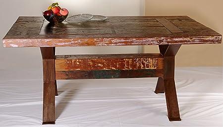 INDODECOR Mesa de Comedor Rustica Madera de Mango y Patas de Hierro.Med.165x100x76: Amazon.es: Hogar