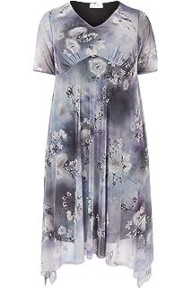 68734c77c2 Yours Women s Plus Size London Black   Mesh Midi Dress with Hanky ...