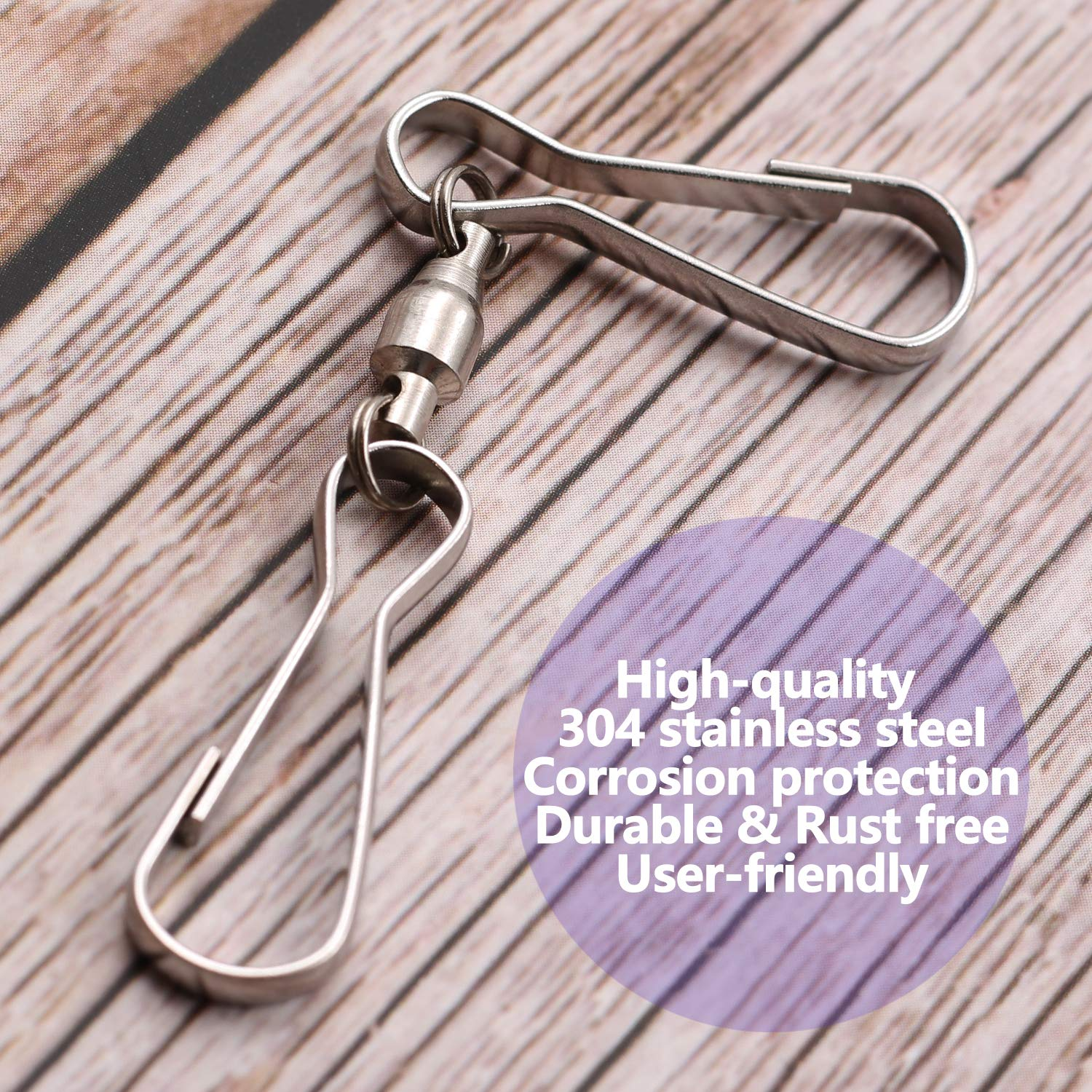 Flags Small Plants Pots Anley Pack of 10 Windsock Clips Bird Feeders Ideal for Wind Spinners 3 Dual Swivel Hook /& 360/° Rotatable /& Anti-wrap /& Stainless Party Supplies