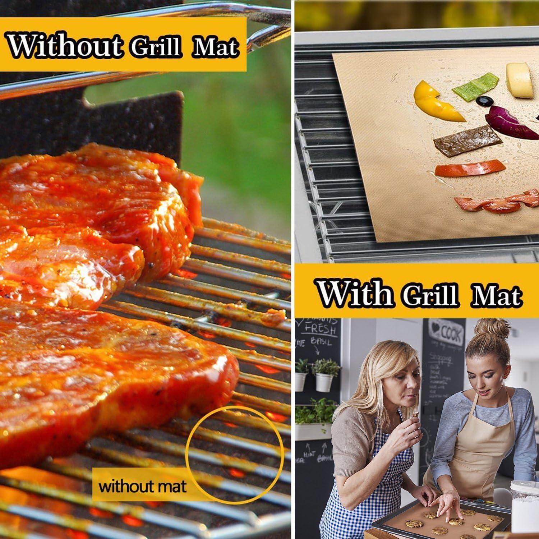 1pcs BBQ Grill Mat Non-Stick Bake Grilling Mats Barbecue Fiber G2L6 Pad J7E6