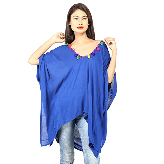 Secret Bazaar Women Crepe Plain Solid Kaftan Top Women's Tops