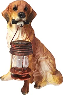 Garden Sun Light B5190A Golden Retriever Dog With Lantern Solar Light    Tan Brown
