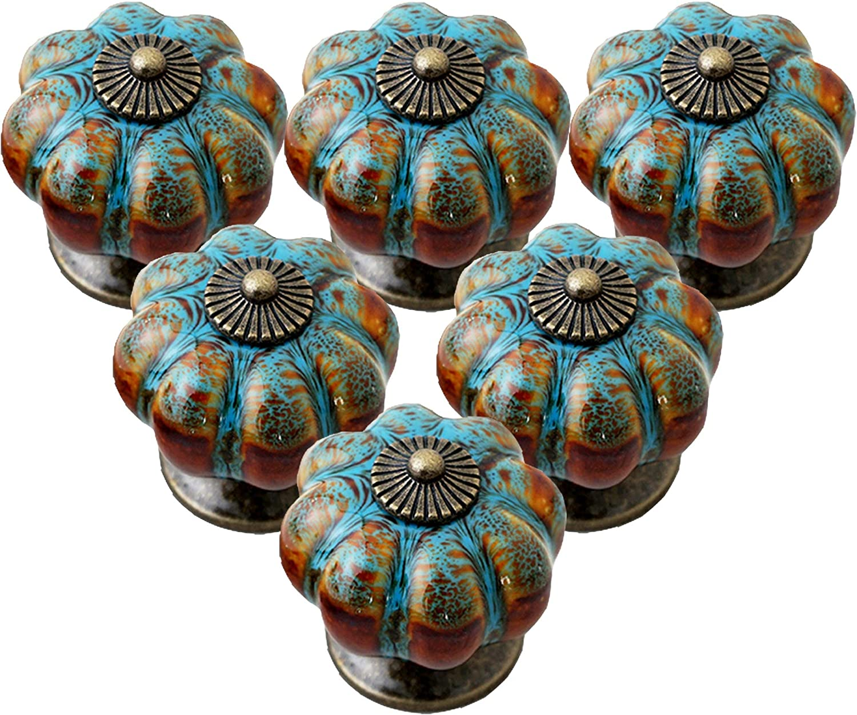 Yagote Ceramic Cabinet Knobs Vintage Pumpkin Pull Knobs Blue Antique Decorative Drawer Knobs for Kitchen Furniture Pull Handles 6 Pack (Blue)