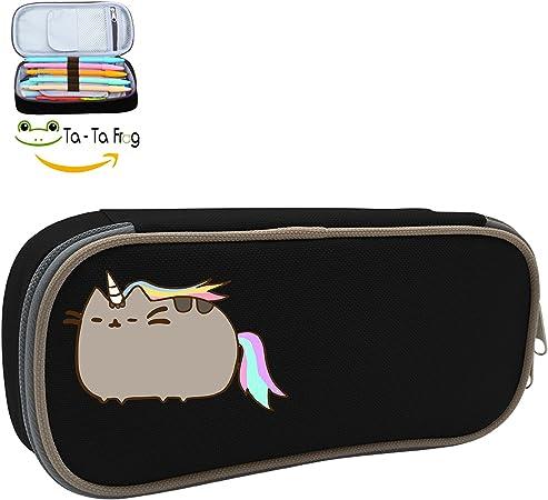 Gran capacidad Bolsa de lápiz lindo gato Pusheen unicornio lápiz caso maquillaje bolsa doble cremallera caja: Amazon.es: Hogar
