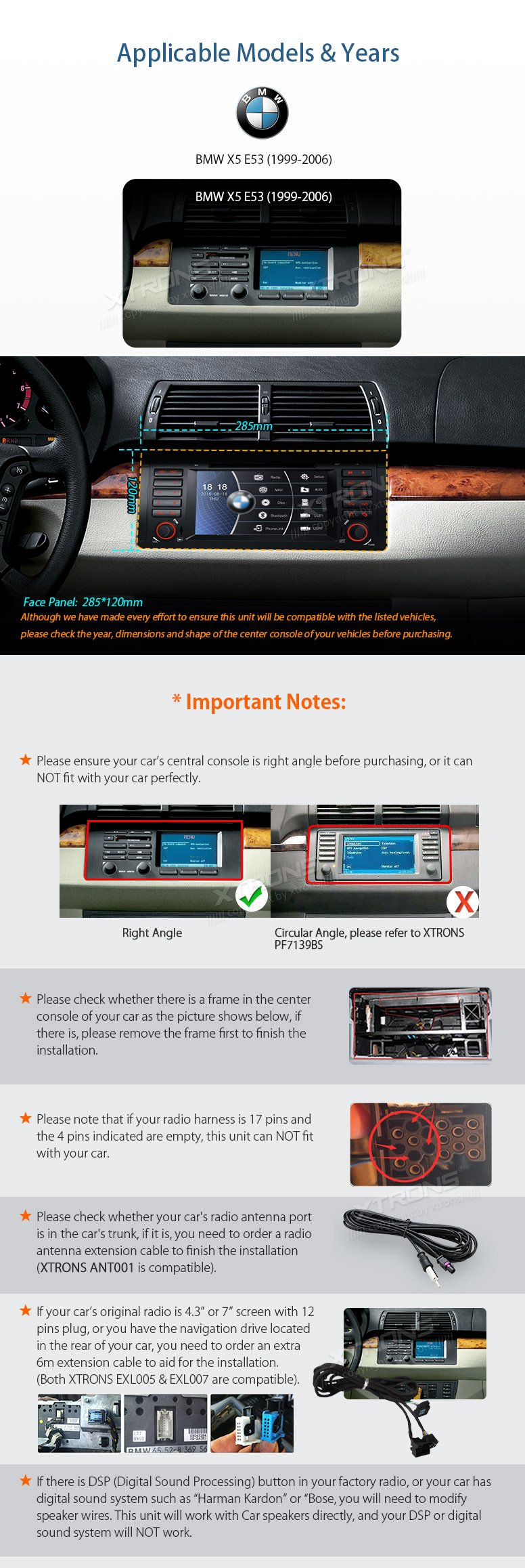 XTRONS 7 Inch HD Digital Touch Screen Car Stereo Radio In-Dash DVD Player with GPS CANbus Screen Mirroring Function for BMW E53 X5 Navigation Map Card & Reversing Camera Included by XTRONS (Image #3)