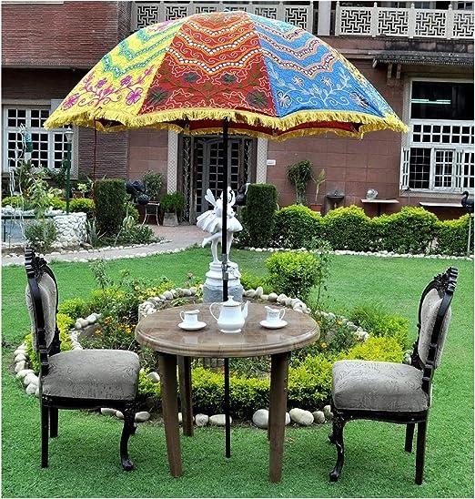 Marusthali Sombrillas de jardín Hechas a Mano Indias Patio al Aire Libre Sombrillas Decorativas Boda al Aire Libre, Sombrillas de Playa Sombrillas Sombrillas Grandes: Amazon.es: Jardín