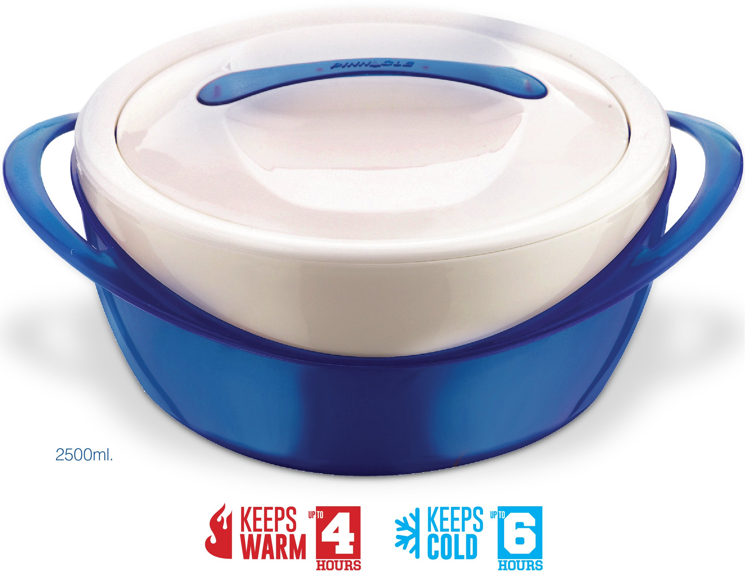 Pinnacle Casserole Dish - Large Soup and Salad Bowl - Insulated Serving Bowl With Lid - Blue