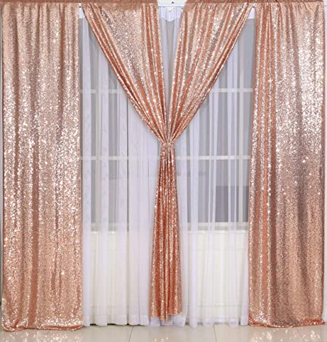 Poise3ehome Pailletten Fotografie Vorhang 2 Paneele Für Party Dekoration Roségold 60 X 240 Cm Küche Haushalt