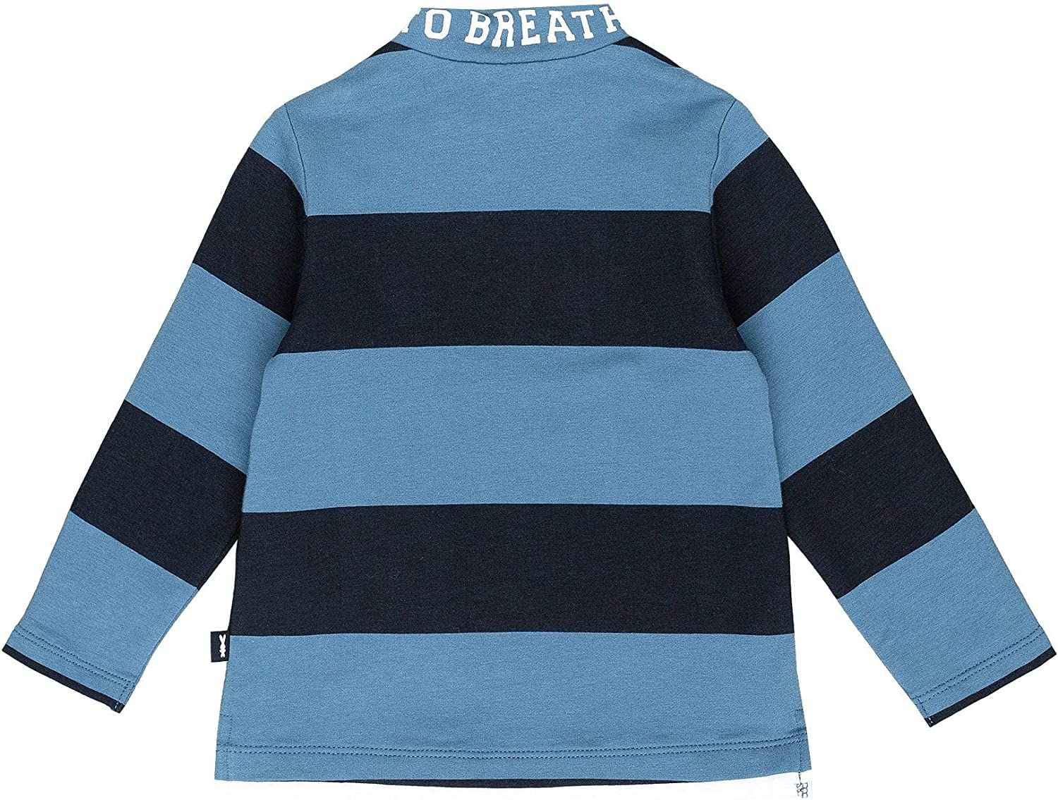 Regular Fit Colour Navy Blue GULLIVER Baby Boy Long Sleeve Top Polo Shirt Casual Patch Cotton Soft Round Polo-Neck Stripe Print Popper Button for 9-24 Months