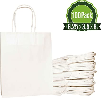 White Kraft Paper Mini Gift Bags Party Favor Wedding Goody Retail Handles 100-Ct