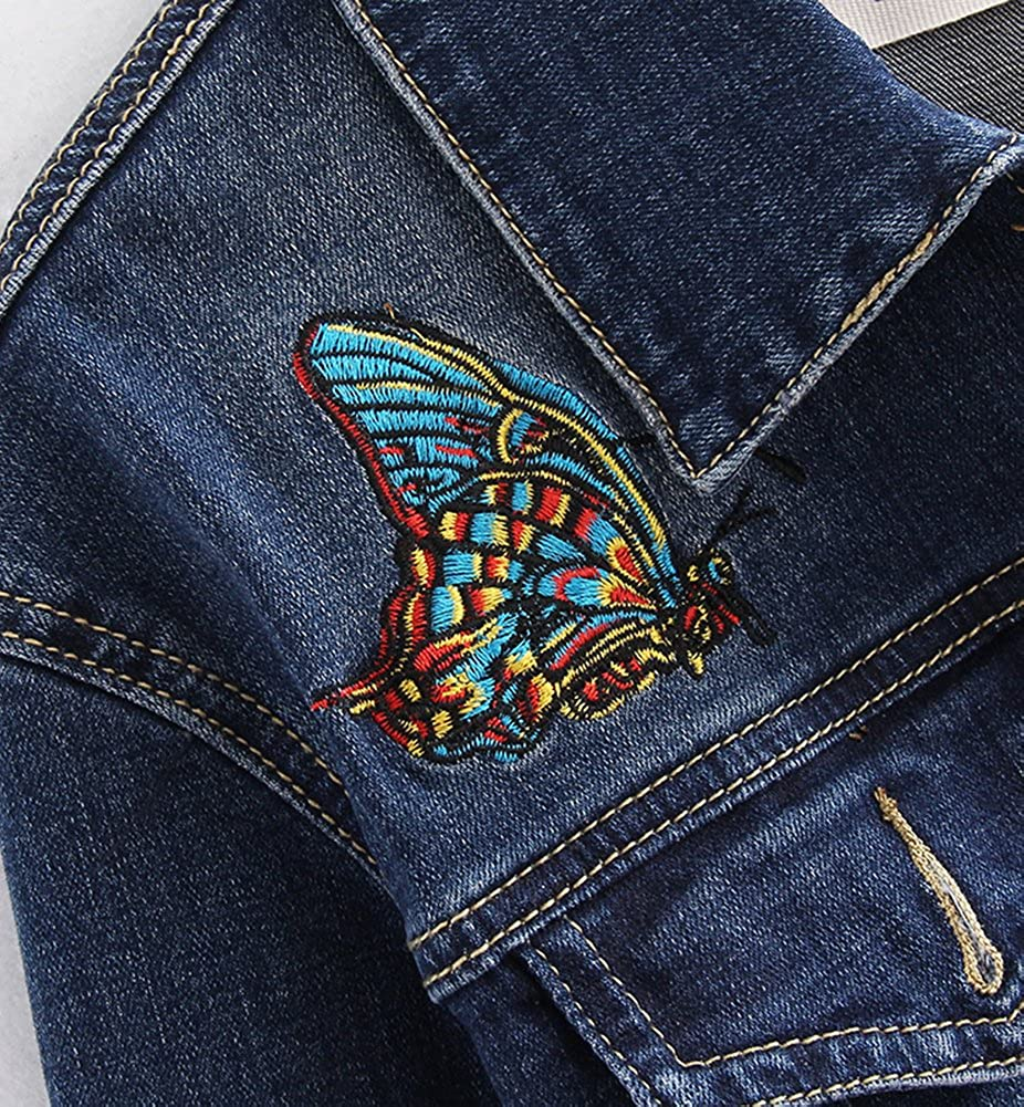 HOOBEE DENIM Womens Oversized Butterfly Floral Embroidered Denim Jacket