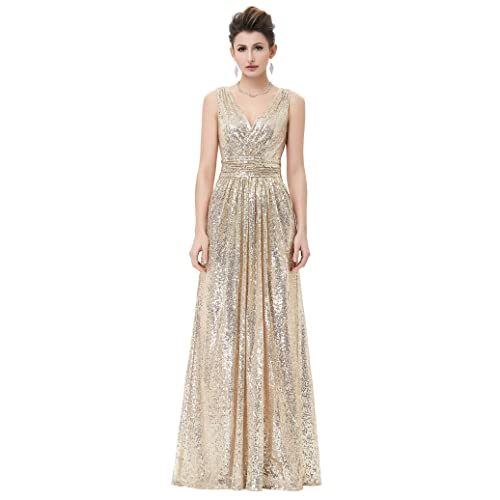 Kate Kasin®Womens Full Length Sequined Prom Dress for Bridal KK0199