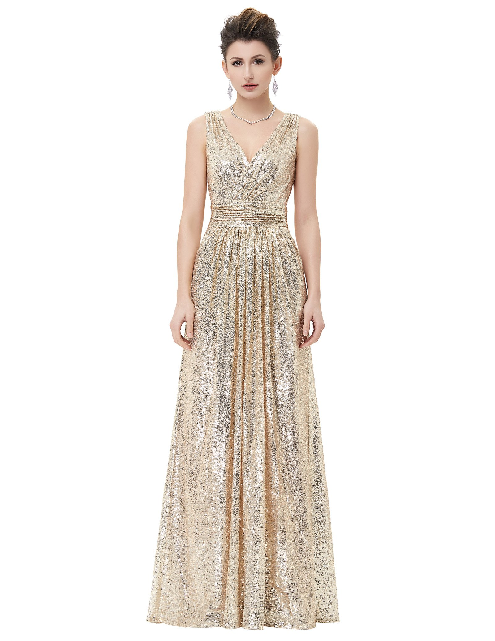 Kate Kasin Plus Size Long Sequined Bridesmaid Dress Women Evening Party V-Neck Gold USA18 KK199-1