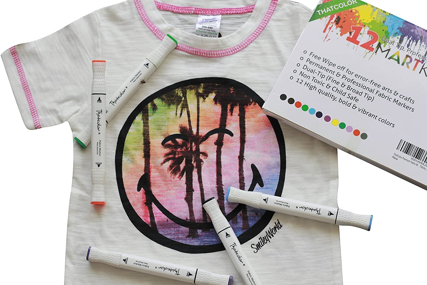 Non Toxic Disappearing Ink Pen Thatcolor Fabric Markers All-in-One Set: 12 Dual Tip Permanent Graffiti Coloring Pens Iron Transfer Sticker