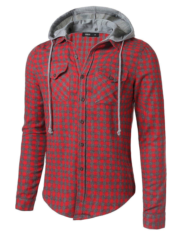 Doublju Mens Long Sleeve Flannel Button Down Shirt with Detachable Hood