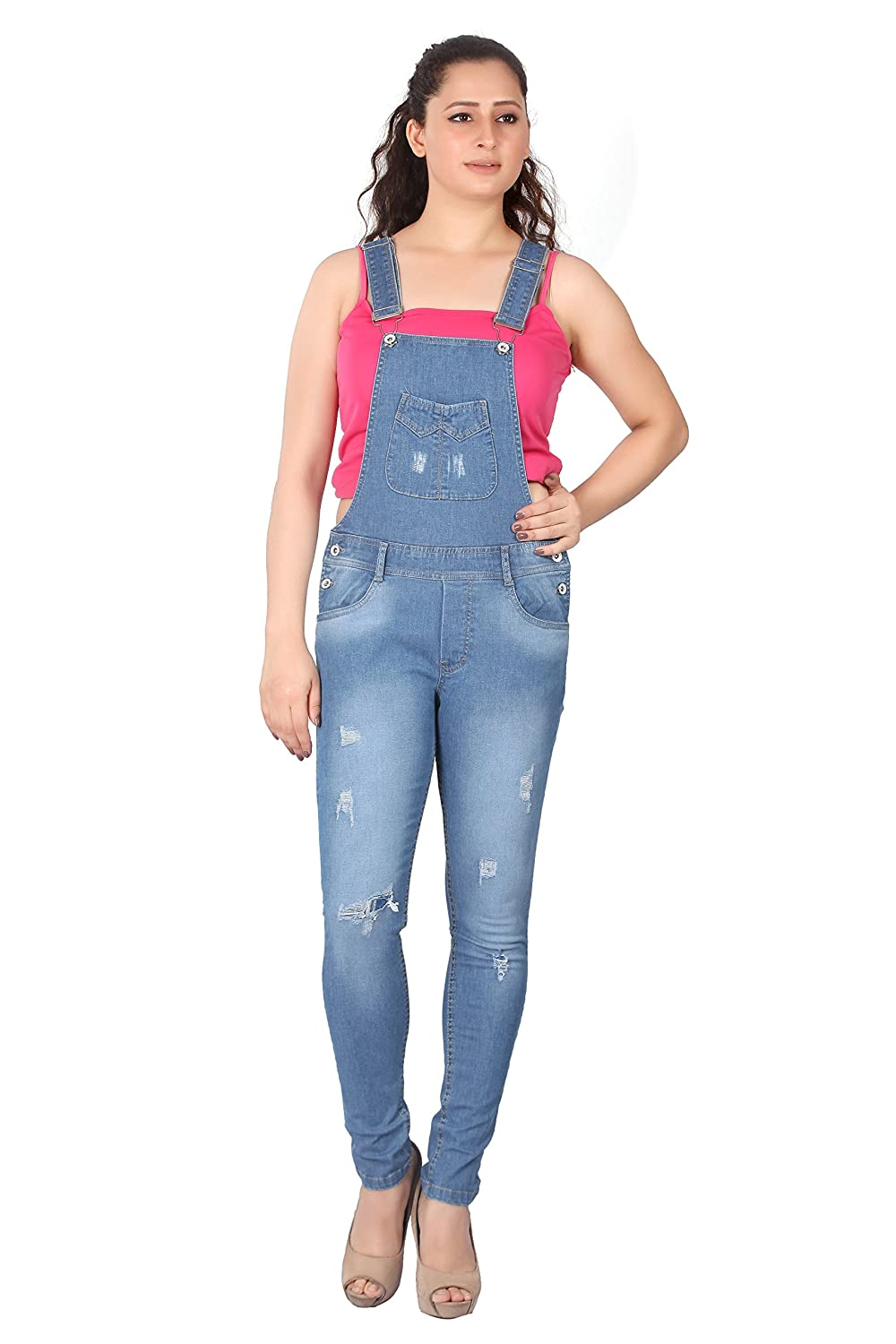 586f20ab4614 FCK-3 Women s Mild Distressed Stretchable Denim Dungaree  Amazon.in   Clothing   Accessories