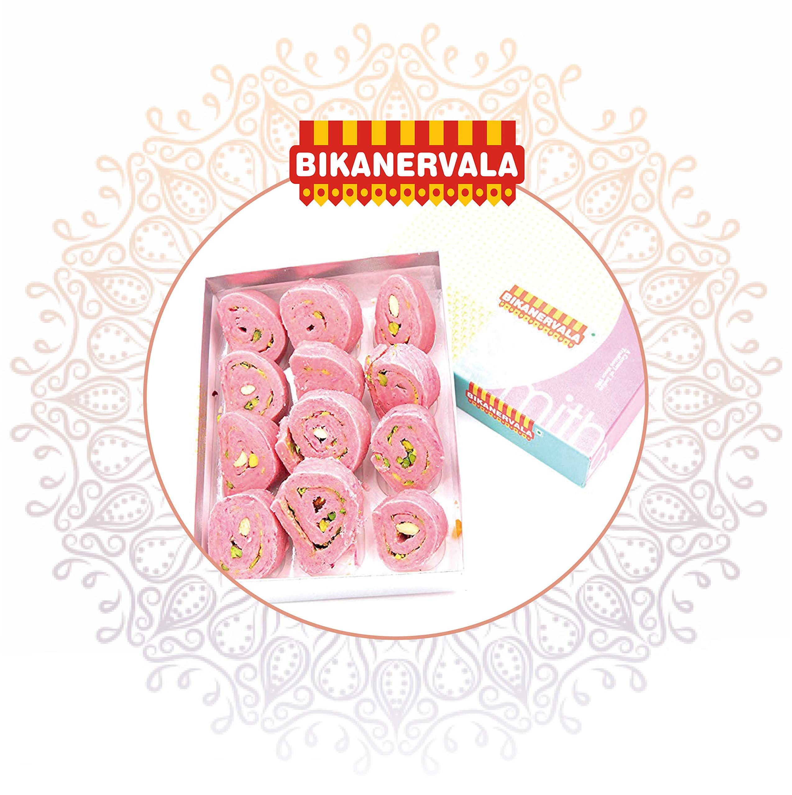 Bikanervala Kaju Rose Cake Indian Ethnic Sweets, Authentic & Natural, 1LB by Bikanervala