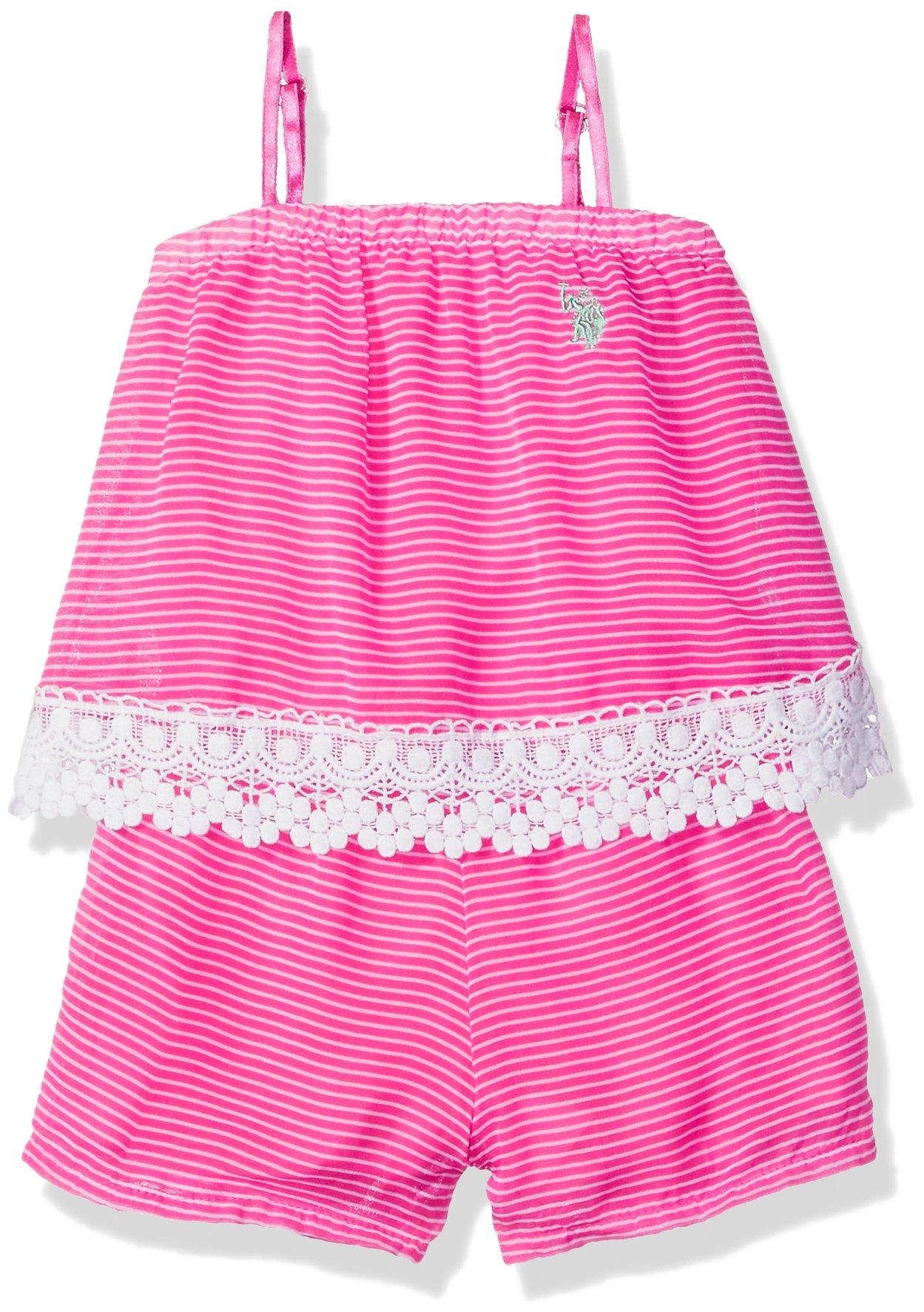 U.S. Polo Assn. Big Girls' Romper, Stripes Lace Romper Neon Hot Pink, 8