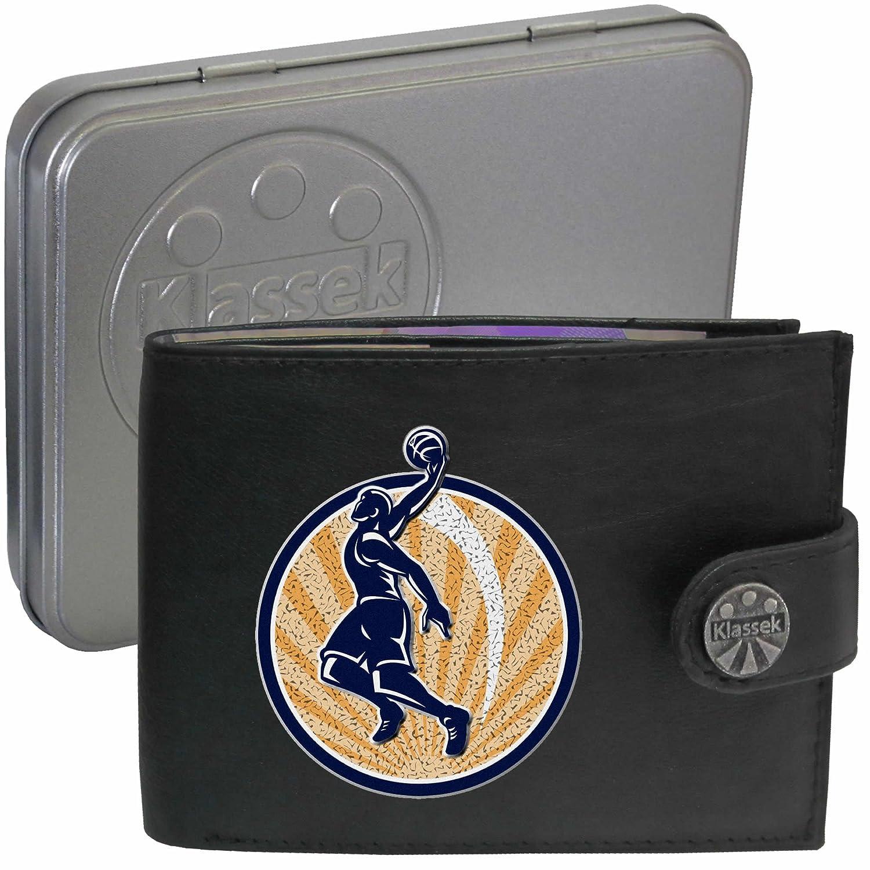 6588af2ebce9 BasketBall Player Joueur de basket-ball Klassek Portefeuille Homme Porte  Monnaie Cuir Noir Véritable Cadeau Présente en boîte métallique: Amazon.fr:  Bagages