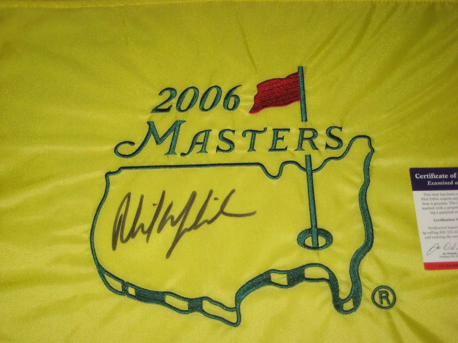 Phil Mickelson Pga Autographed Signed 2006 Masters Flag PSA/DNA Authentic