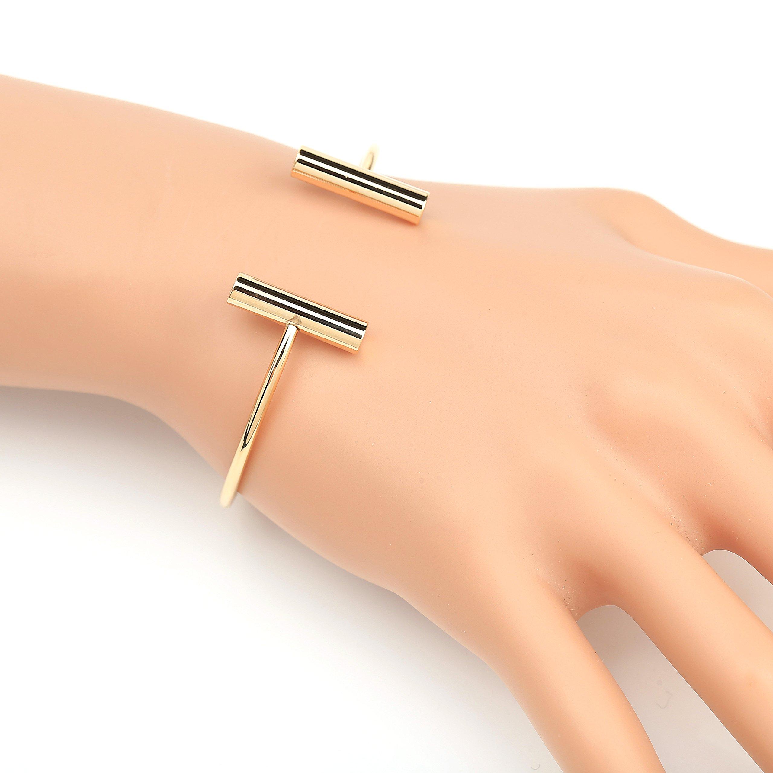 United Elegance Stylish Designer Bangle Bracelet with Contemporary T-Bar Design by United Elegance (Image #2)