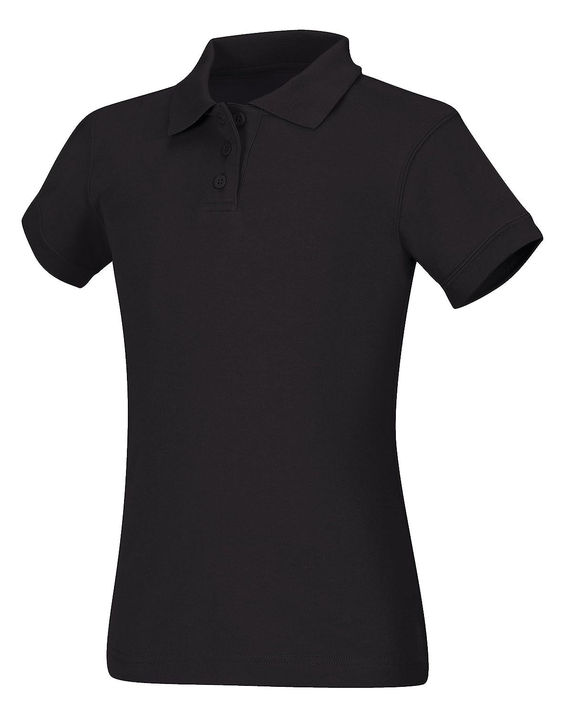 Black Large CLASSROOM Big Girls Interlock Cap Sleeve Polo