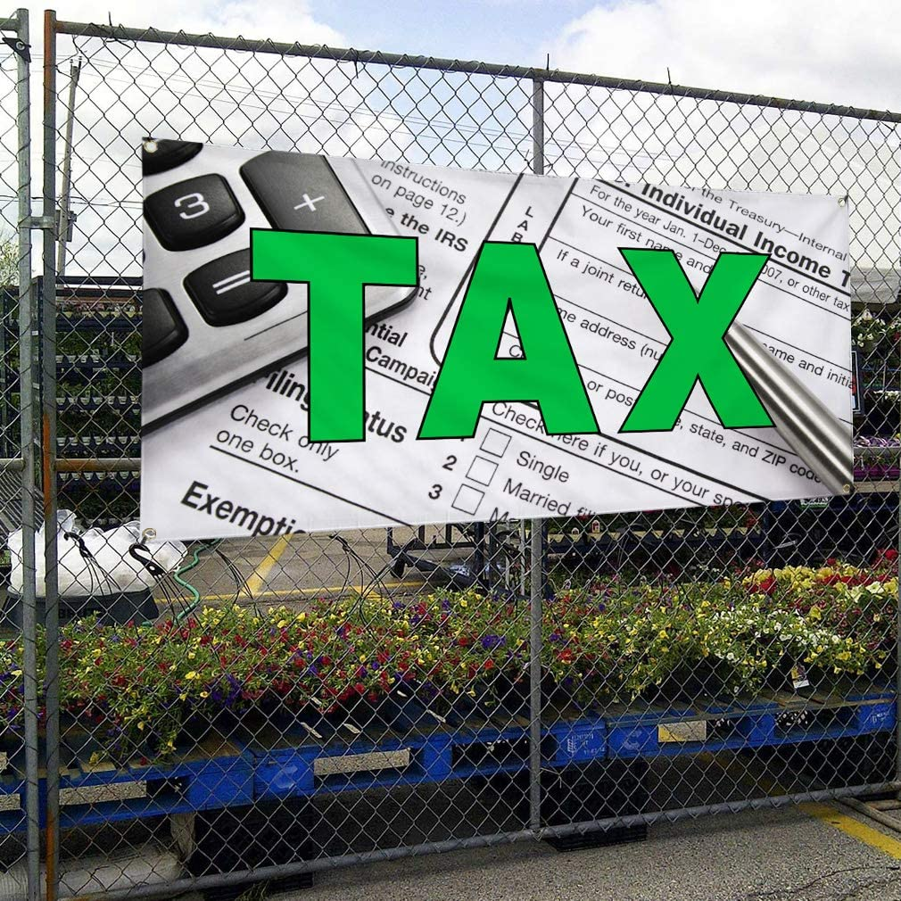 Vinyl Banner Sign Tax #1 Business Tax Outdoor Marketing Advertising White One Banner 48inx96in 8 Grommets Multiple Sizes Available