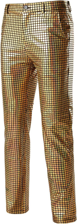 ZEROYAA Mens Night Club Metallic Gold Suit Pants//Straight Leg Trousers