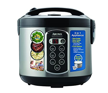 Aroma Professional Rice Cooker Multicooker, Silver ARC-2010ASB