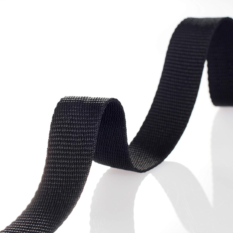 50 metros x 25mm Correa de correas de polipropileno - 1,4mm espesor - multiusos PP Cinta para bricolaje Craft Mochila Flejes Delantal Bolsas, negro TKB5070 ...