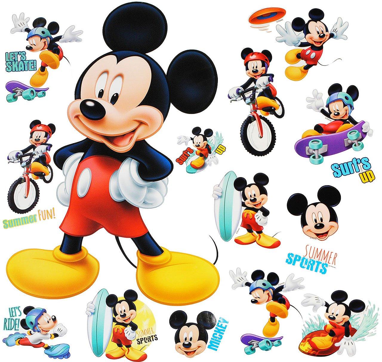 Unbekannt 16 TLG. Set _ Wandtattoo / Sticker + Fensterbilder - Mickey Mouse - incl. Name - Wandsticker + Fenstersticker - Aufkleber für Kinderzimmer - Maus Playhous.. Kinder-land