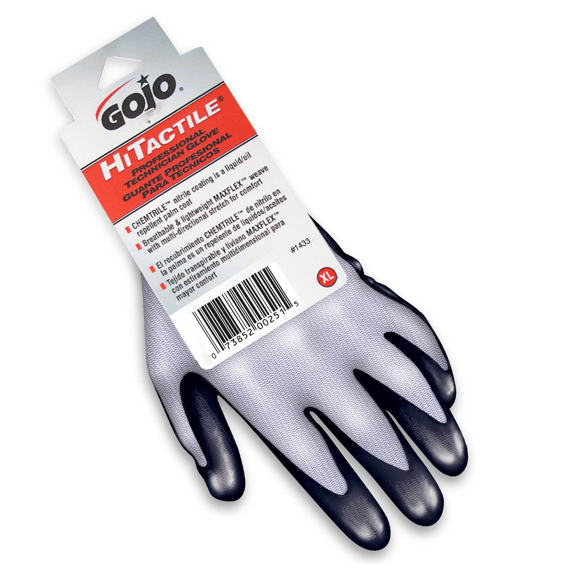 GOJO 1433-12 Hitactile Nylon Professional Technician Glove, X-Large (Pack of 12)
