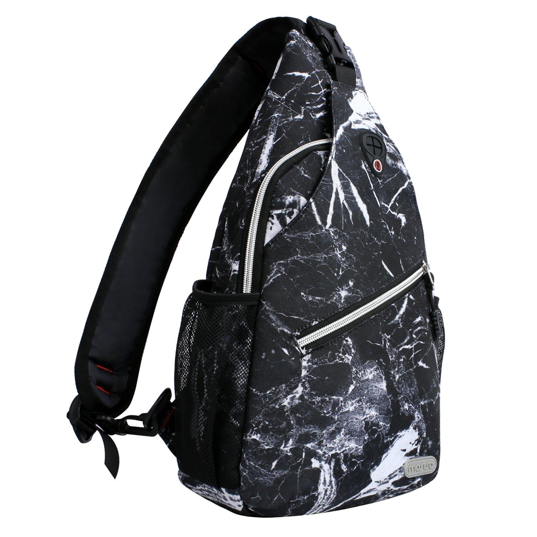 MOSISO Sling Backpack, Multipurpose Crossbody Shoulder Bag Travel Hiking Daypack, Black Marble