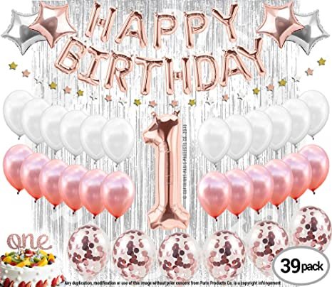 caa2c3fab 1st BIRTHDAY GIRL DECORATIONS (37 Piece Set) | Great for 1st Birthday Party  Supplies
